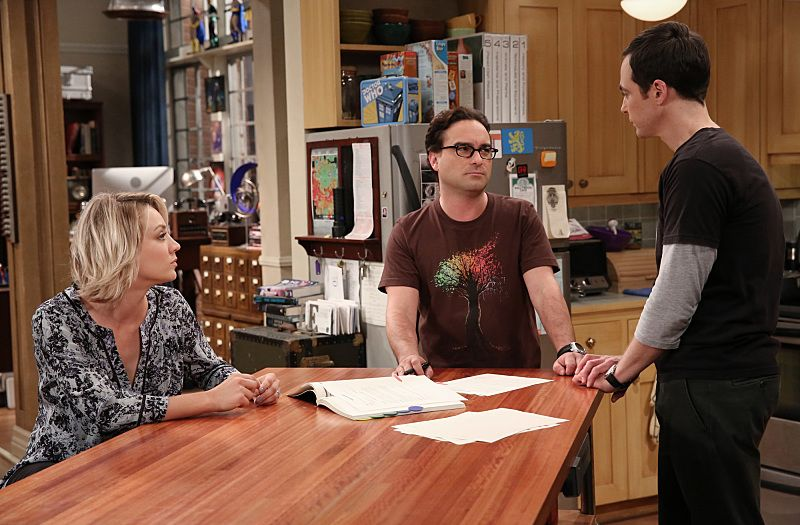 """""""The 2003 Approximation"""" -- Sheldon (Jim Parsons, right) learns of an impending change in his living arrangements and decides to revert back to 2003, a simpler time before he met Leonard (Johnny Galecki, center) and Penny (Kaley Cuoco, left), on THE BIG BANG THEORY, Monday, Oct. 12 (8:00-8:31 PM, ET/PT), on the CBS Television Network. Photo: Darren Michaels/Warner Bros. Entertainment Inc. © 2015 WBEI. All rights reserved."""