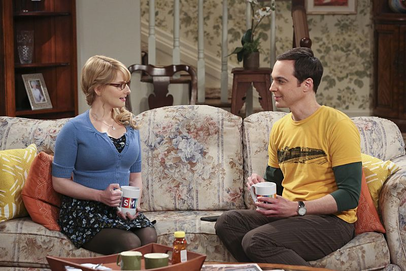 """""""The 2003 Approximation"""" -- Sheldon (Jim Parsons, right) learns of an impending change in his living arrangements and decides to revert back to 2003, a simpler time before he met Leonard and Penny, on THE BIG BANG THEORY, Monday, Oct. 12 (8:00-8:31 PM, ET/PT), on the CBS Television Network. Also Pictured: Melissa Rauch Photo: Darren Michaels/Warner Bros. Entertainment Inc. © 2015 WBEI. All rights reserved."""