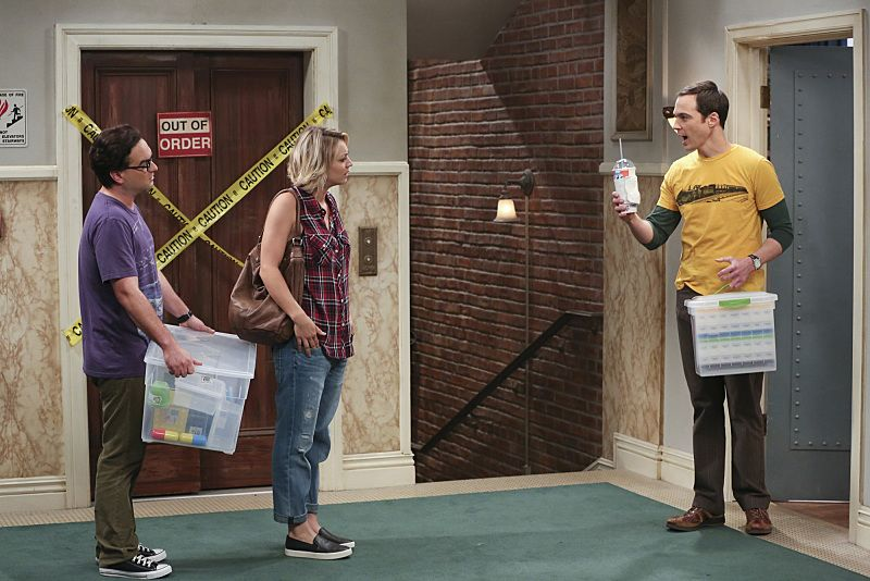 """""""The 2003 Approximation"""" -- Sheldon (Jim Parsons, right) learns of an impending change in his living arrangements and decides to revert back to 2003, a simpler time before he met Leonard (Johnny Galecki, left) and Penny (Kaley Cuoco, center), on THE BIG BANG THEORY, Monday, Oct. 12 (8:00-8:31 PM, ET/PT), on the CBS Television Network. Photo: Darren Michaels/Warner Bros. Entertainment Inc. © 2015 WBEI. All rights reserved."""