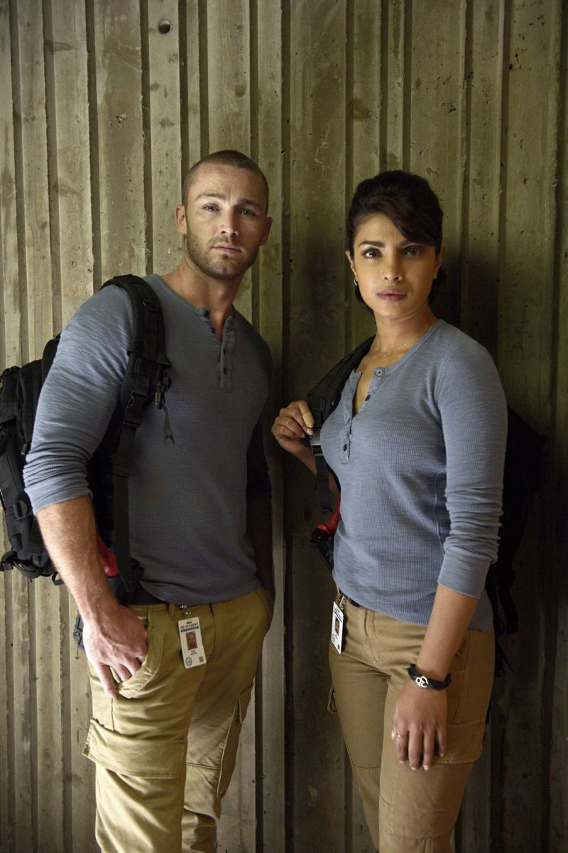 """QUANTICO - """"Cover"""" - At Quantico, Alex finally receives information about her father and his FBI past, but in the future it's her mother, Sita, who plays a key role when Liam convinces her to participate in a press conference on national television begging Alex to turn herself in. Also at """"Quantico,"""" the NATS learn the art of profiling and focus on their classmates' strengths and weaknesses, ultimately challenging their confidence and comradery, on """"Quantico"""" SUNDAY, OCTOBER 11 (10:00--11:00 p.m., ET) on the ABC Television Network. (ABC/Phillipe Bosse) JAKE MCLAUGHLIN, PRIYANKA CHOPRA"""