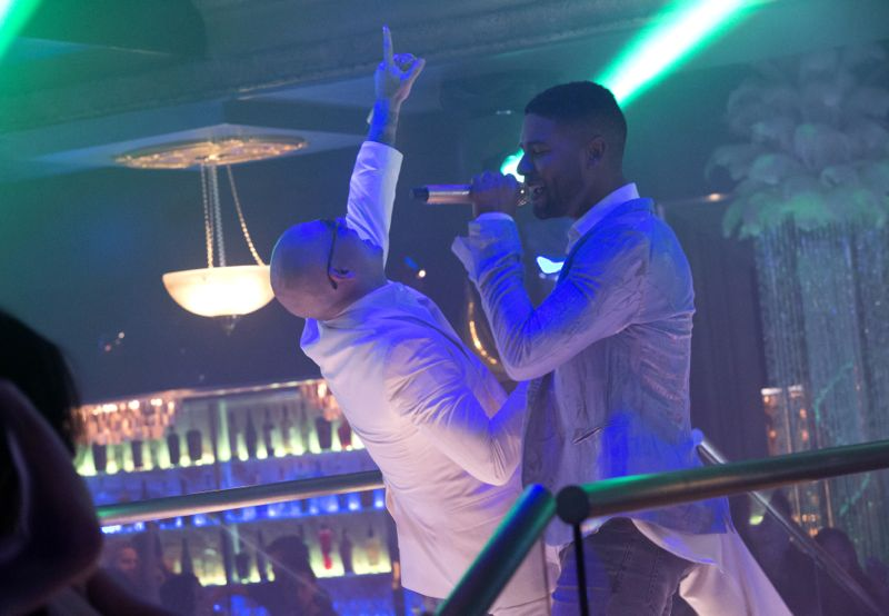 """EMPIRE: Pictured L-R: Guest star Pitbull and Jussie Smollett as Jamal Lyon in the """"Fires Of Heaven"""" episode of EMPIRE airing Wednesday, Oct. 7 (9:00-10:00 PM ET/PT) on FOX. ©2015 Fox Broadcasting Co. Cr: Chuck Hodes/FOX."""