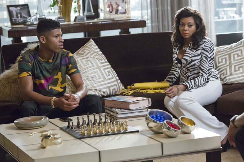 """EMPIRE: Pictured L-R: Bryshere Gray as Hakeem Lyon and Taraji P. Henson as Cookie Lyon in the """"Fires Of Heaven"""" episode of EMPIRE airing Wednesday, Oct. 7 (9:00-10:00 PM ET/PT) on FOX. ©2015 Fox Broadcasting Co. Cr: Chuck Hodes/FOX."""