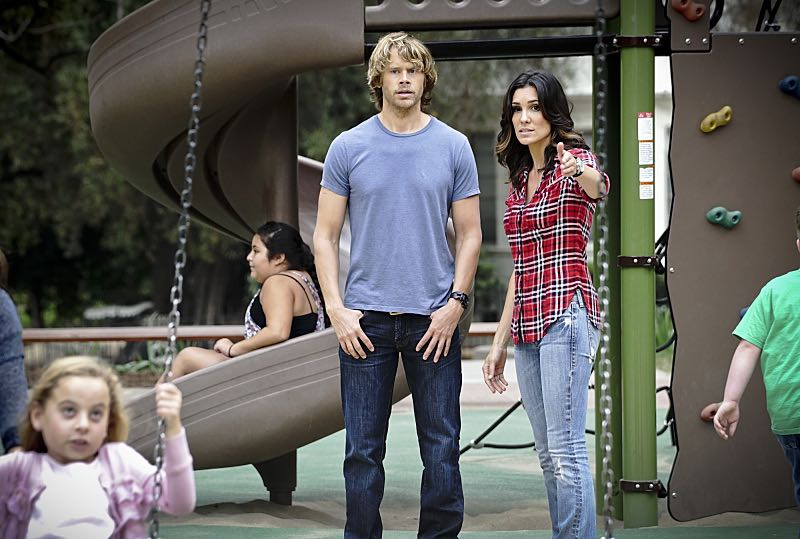 """""""Command & Control"""" -- Pictured: Eric Christian Olsen (LAPD Liaison Marty Deeks) and Daniela Ruah (Special Agent Kensi Blye). Callen and Sam are forced to work on their day off when they mysteriously receive a cell phone and the caller threatens the lives of innocent people, on the special 150th episode of NCIS: LOS ANGELES, Monday, Oct. 12 (10:00-11:00, ET/PT), on the CBS Television Network. Photo: Richard Cartwright/CBS ©2015 CBS Broadcasting, Inc. All Rights Reserved"""