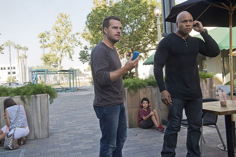 """""""Command & Control"""" -- Pictured: Chris O'Donnell (Special Agent G. Callen) and LL COOL J (Special Agent Sam Hanna). Callen and Sam are forced to work on their day off when they mysteriously receive a cell phone and the caller threatens the lives of innocent people, on the special 150th episode of NCIS: LOS ANGELES, Monday, Oct. 12 (10:00-11:00, ET/PT), on the CBS Television Network. Photo: Neil Jacobs/CBS ©2015 CBS Broadcasting, Inc. All Rights Reserved"""