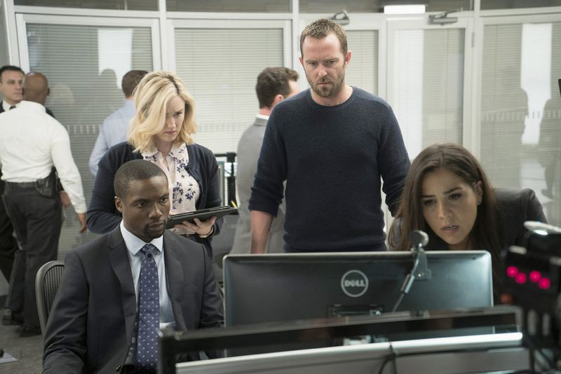 "BLINDSPOT -- ""Persecute Envoys"" Episode 108 -- Pictured: (l-r) Rob Brown as Edgar Reed, Ashley Johnson as Patterson, Sullivan Stapleton as Kurt Weller, Audrey Esparza as Tasha Zapata -- (Photo by: Peter Kramer/NBC)"