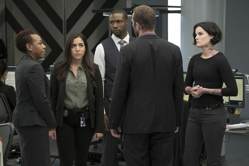 "BLINDSPOT -- ""Persecute Envoys"" Episode 108 -- Pictured: (l-r) Marianne Jean-Baptiste as Bethany Mayfair, Audrey Esparza as Tasha Zapata, Rob Brown as Edgar Reed, Jaimie Alexander as Jane Doe -- (Photo by: Peter Kramer/NBC)"
