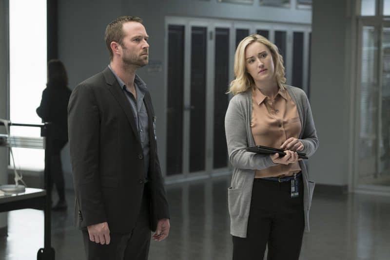 "BLINDSPOT -- ""Persecute Envoys"" Episode 108 -- Pictured: (l-r) Sullivan Stapleton as Kurt Weller, Ashley Johnson as Patterson -- (Photo by: Peter Kramer/NBC)"
