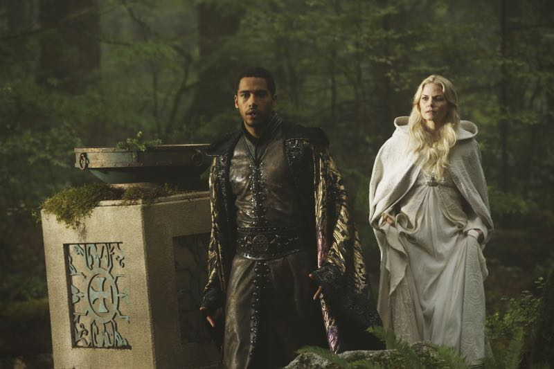 """ONCE UPON A TIME - """"Nimue"""" - In Camelot, Merlin spearheads a mission to reunite the dagger with Excalibur so he can use the weapon to save Emma from the darkness threatening her soul. With Zelena in tow, Hook, Mary Margaret, David, Regina and Robin steal into Arthur's castle to take the broken sword from the maniacal king. Meanwhile, Merlin brings Emma along on a journey to confront his ancient nemesis and retrieve the sacred spark he'll need to reforge Excalibur. Both parties are tested, but one suffers a blow that could derail the entire operation. In a flashback to long before the Age of Arthur, young Merlin finds purpose after he is blessed with magic and immortality, but when he falls in love with a young refugee named Nimue, everything changes for Merlin, as their romance starts a chain of events that touches every one of our present day heroes, on """"Once Upon a Time,"""" SUNDAY, NOVEMBER 8 (8:00-9:00 p.m., ET) on the ABC Television Network. (ABC/Jack Rowand) ELLIOT KNIGHT, JENNIFER MORRISON"""
