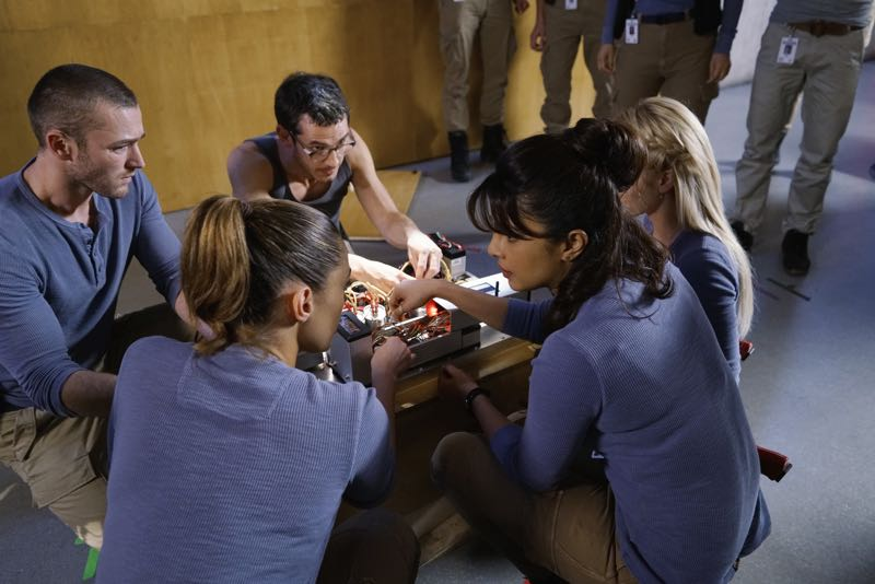 "QUANTICO - ""Go"" - It's midterm exam time at Quantico where the NATS are given an explosive assignment which results in some people going home for good. In the future, Alex continues to try and clear her name, finding Nimah and Raina who provide more questions than answers leaving Alex and the world to wonder, ""who can you really trust?"" on ""Quantico"" SUNDAY, NOVEMBER 8 (10:01-11:00 ET) on the ABC Television Network. (ABC/Jonathan Wenk) JAKE MCLAUGHLIN, ANABELLE ACOSTA, TATE ELLINGTON, PRIYANKA CHOPRA, JOHANNA BRADDY (OBSCURED)"