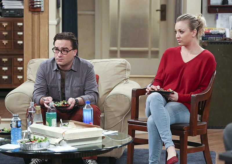 """The Empathy Optimization"" -- After having to deal with a sick Sheldon, Leonard, Penny and the gang try to treat themselves to a Sheldon-free weekend, on THE BIG BANG THEORY, Thursday, Jan. 14 (8:00-8:31, ET/PT), on the CBS Television Network. Pictured left to right: Johnny Galecki and Kaley Cuoco Photo: Michael Yarish/Warner Bros. Entertainment Inc. © 2015 WBEI. All rights reserved."