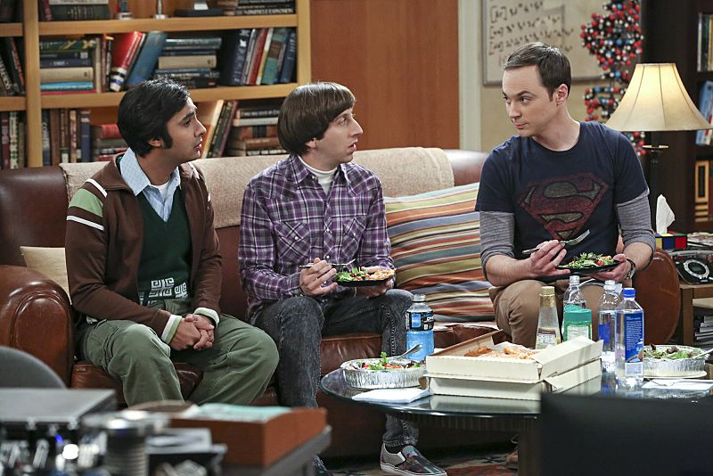 """The Empathy Optimization"" -- After having to deal with a sick Sheldon, Leonard, Penny and the gang try to treat themselves to a Sheldon-free weekend, on THE BIG BANG THEORY, Thursday, Jan. 14 (8:00-8:31, ET/PT), on the CBS Television Network. Pictured left to right: Kunal Nayyar, Simon Helberg and Jim Parsons Photo: Michael Yarish/Warner Bros. Entertainment Inc. © 2015 WBEI. All rights reserved."