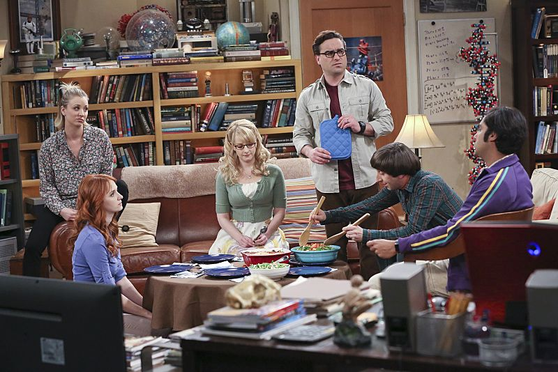 """The Empathy Optimization"" -- After having to deal with a sick Sheldon, Leonard, Penny and the gang try to treat themselves to a Sheldon-free weekend, on THE BIG BANG THEORY, Thursday, Jan. 14 (8:00-8:31, ET/PT), on the CBS Television Network. Pictured left to right: Kaley Cuoco, Laura Spencer, Mayim Bialik, Johnny Galecki, Simon Helberg and Kunal Nayyar Photo: Michael Yarish/Warner Bros. Entertainment Inc. © 2015 WBEI. All rights reserved."