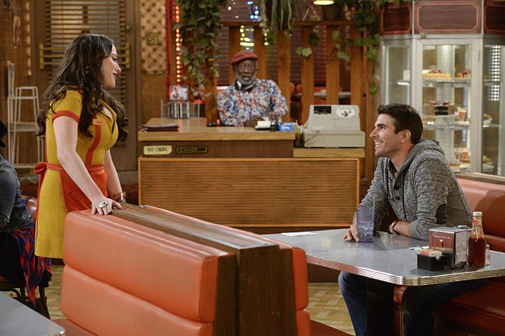 """And The Story Telling Show"" -- Pictured (L-R): Max Black (Kat Dennings), Earl (Garrett Morris) and Miles Fisher (Adam). Caroline shares her riches-to-rags life story on stage at a storytelling night and captures the attention of a Hollywood studio executive. Meanwhile, Sophie and Oleg search for a surrogate, when 2 BROKE GIRLS moves to its new day and time, Thursday, Feb. 18 (9:30-10:00 PM, ET/PT) on the CBS Television Network. Photo: Darren Michaels/Warner Bros. Entertainment Inc. © 2016 WBEI. All rights reserved."