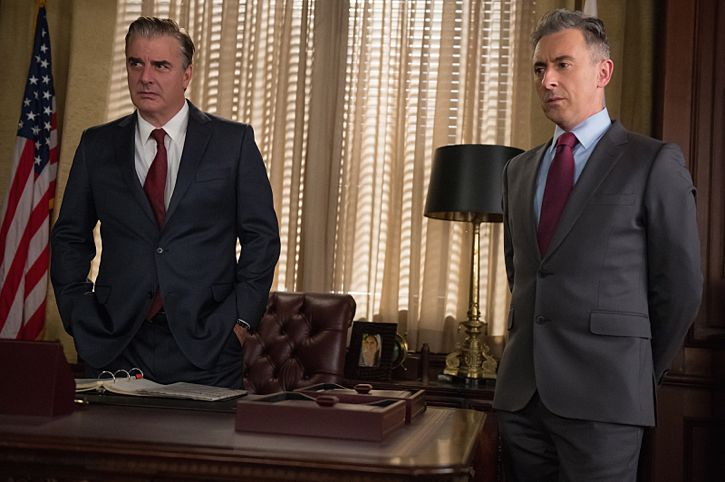 """""""Targets"""" -- Alicia joins a secret panel of attorneys advising the U.S. government on a controversial case. Also, Eli hires Elsbeth Tascioni (Carrie Preston) to uncover why the FBI is targeting Peter, on THE GOOD WIFE, Sunday, Feb. 21 (9:00-10:00 PM, ET/PT) on the CBS Television Network. Pictured (l-r) Chris Noth as Peter Florrick and Alan Cumming as Eli Gold Photo: Jeff Neumann/CBS ©2015 CBS Broadcasting, Inc. All Rights Reserved"""