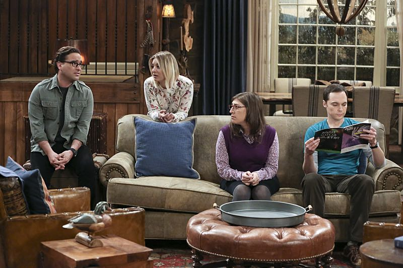 """The Big Bear Precipitation"" -- Sheldon (Jim Parsons, right) spills a secret of Leonard's (Johnny Galecki, left) when the two take a weekend cabin trip with Penny and Amy, on THE BIG BANG THEORY, Thursday, April 7 (8:00-8:31 PM, ET/PT) on the CBS Television Network. Pictured left to right: Johnny Galecki, Kaley Cuoco, Mayim Bialik and Jim Parsons Photo: Michael Yarish/Warner Bros. Entertainment Inc. © 2016 WBEI. All rights reserved."