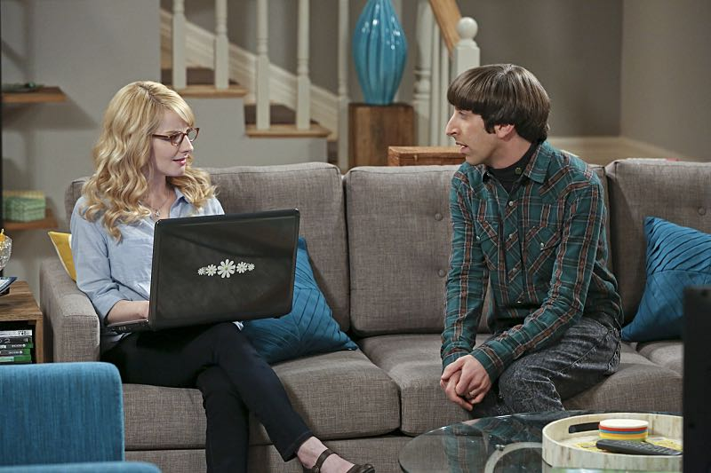 """The Big Bear Precipitation"" -- When Koothrappali goes overboard with pregnancy gifts, Wolowitz (Simon Helberg, right) and Bernadette (Melissa Rauch, left) must draw the line, on THE BIG BANG THEORY, Thursday, April 7 (8:00-8:31 PM, ET/PT) on the CBS Television Network. Photo: Michael Yarish/Warner Bros. Entertainment Inc. © 2016 WBEI. All rights reserved."