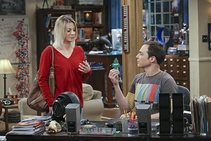 """The Big Bear Precipitation"" -- Sheldon (Jim Parsons, right) spills a secret of Leonard's when the two take a weekend cabin trip with Penny and Amy, on THE BIG BANG THEORY, Thursday, April 7 (8:00-8:31 PM, ET/PT) on the CBS Television Network. Also Pictured: Kaley Cuoco (left) Photo: Michael Yarish/Warner Bros. Entertainment Inc. © 2016 WBEI. All rights reserved."