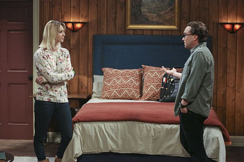 """The Big Bear Precipitation"" -- Sheldon spills a secret of Leonard's (Johnny Galecki, right) when the two take a weekend cabin trip with Penny and Amy, on THE BIG BANG THEORY, Thursday, April 7 (8:00-8:31 PM, ET/PT) on the CBS Television Network. Also Pictured: Kaley Cuoco (left) Photo: Michael Yarish/Warner Bros. Entertainment Inc. © 2016 WBEI. All rights reserved."