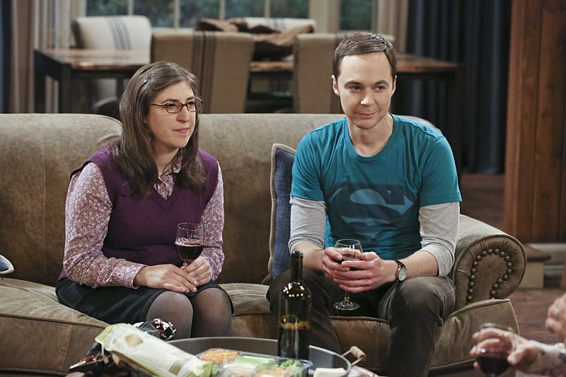 """The Big Bear Precipitation"" -- Sheldon (Jim Parsons, right) spills a secret of Leonard's when the two take a weekend cabin trip with Penny and Amy, on THE BIG BANG THEORY, Thursday, April 7 (8:00-8:31 PM, ET/PT) on the CBS Television Network. Also Pictured: Mayim Bialik (left) Photo: Michael Yarish/Warner Bros. Entertainment Inc. © 2016 WBEI. All rights reserved."