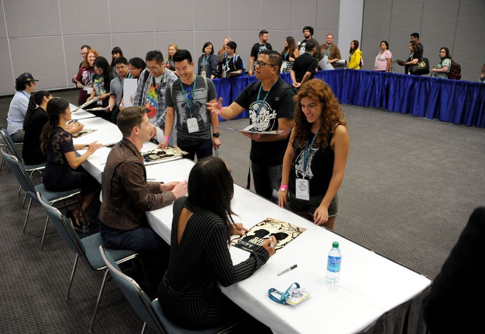 FOX FANFARE AT WONDERCON® LOS ANGELES 2016: L-R: SLEEPY HOLLOW writer Raven Metzner and cast members Jessica Camacho, Nikki Reed, Zach Appelman and Lyndie Greenwood sign autographs for fans during WonderCon® Los Angeles 2016 on Saturday, March 26 at the FOX FANFARE AT WONDERCON® LOS ANGELES 2016 at the Los Angeles Convention Center in Los Angeles, CA. CR: Frank Micelotta/FOX © 2016 FOX BROADCASTING