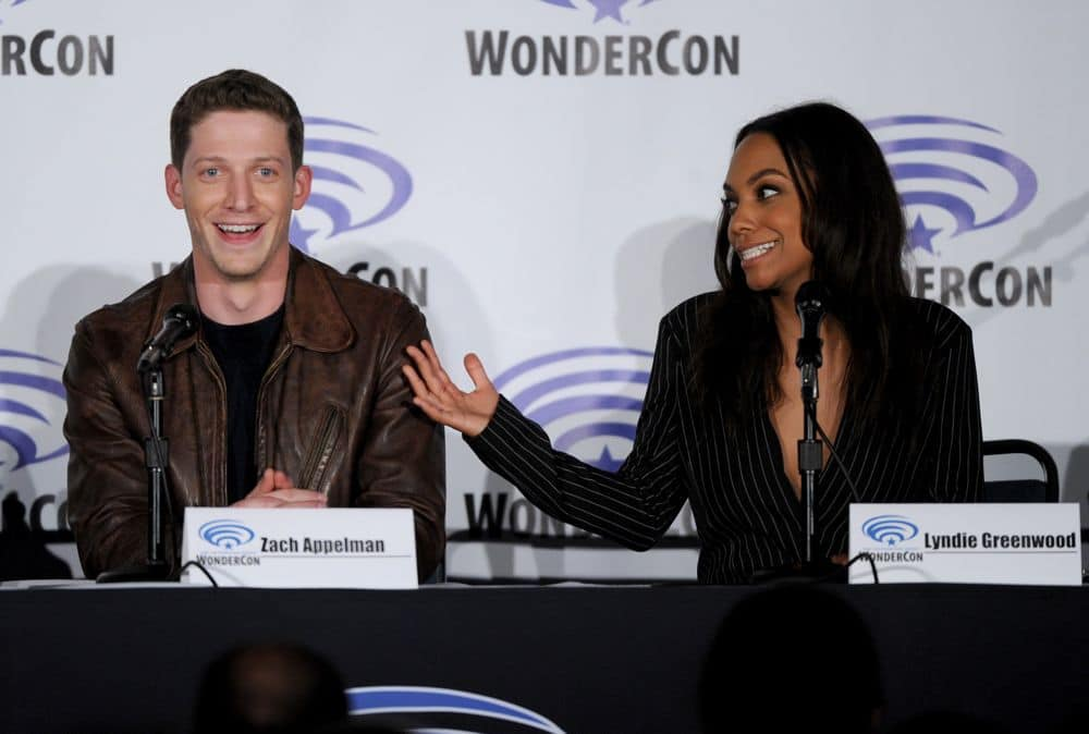 FOX FANFARE AT WONDERCON® LOS ANGELES 2016: L-R: SLEEPY HOLLOW cast members Zack Appelman and Lyndie Greenwood speak to fans during WonderCon® Los Angeles 2016 panel on Saturday, March 26 at the FOX FANFARE AT WONDERCON® LOS ANGELES 2016 at the Los Angeles Convention Center in Los Angeles, CA. CR: Frank Micelotta/FOX © 2016 FOX BROADCASTING
