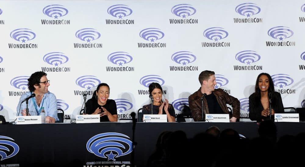 FOX FANFARE AT WONDERCON® LOS ANGELES 2016: L-R: SLEEPY HOLLOW writer Raven Metzner and cast members Jessica Camacho, Nikki Reed, Zach Appelman and Lyndie Greenwood speak to fans during WonderCon® Los Angeles 2016 panel on Saturday, March 26 at the FOX FANFARE AT WONDERCON® LOS ANGELES 2016 at the Los Angeles Convention Center in Los Angeles, CA. CR: Frank Micelotta/FOX © 2016 FOX BROADCASTING