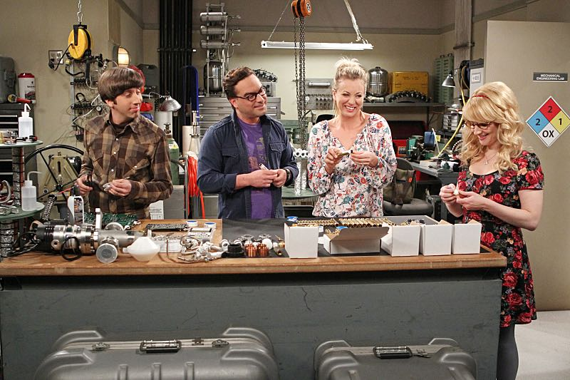 """""""The Solder Excursion Diversion"""" --Koothrappali sells out Leonard and Wolowitz after they lie to their wives in order to attend an early screening of a movie, on THE BIG BANG THEORY, Thursday, March 31 (8:00-8:31 PM, ET/PT) on the CBS Television Network. Pictured left to right: Simon Helberg, Johnny Galecki, Kaley Cuoco and Melissa Rauch Photo: Sonja Flemming/CBS ©2016 CBS Broadcasting, Inc. All Rights Reserved"""