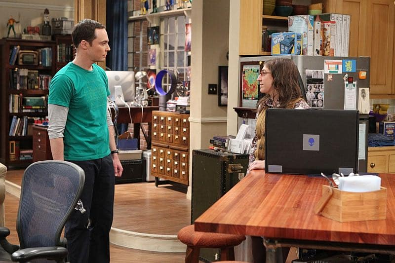 """""""The Solder Excursion Diversion"""" -- Amy (Mayim Bialik, right) is shocked at a revelation from Sheldon (Jim Parsons, left) after she buys him a new laptop, on THE BIG BANG THEORY, Thursday, March 31 (8:00-8:31 PM, ET/PT) on the CBS Television Network. Photo: Sonja Flemming/CBS ©2016 CBS Broadcasting, Inc. All Rights Reserved"""