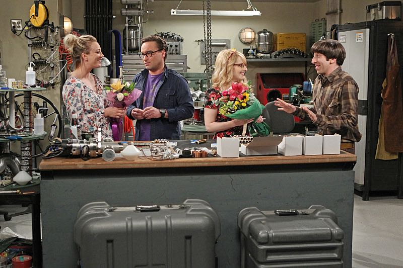 """""""The Solder Excursion Diversion"""" --Koothrappali sells out Leonard and Wolowitz after they lie to their wives in order to attend an early screening of a movie, on THE BIG BANG THEORY, Thursday, March 31 (8:00-8:31 PM, ET/PT) on the CBS Television Network. Pictured left to right: Kaley Cuoco, Johnny Galecki, Melissa Rauch and Simon Helberg Photo: Sonja Flemming/CBS ©2016 CBS Broadcasting, Inc. All Rights Reserved"""