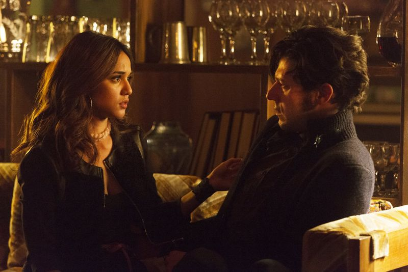 """THE MAGICIANS -- """"Homecoming"""" Episode 110 -- Pictured: (l-r) Summer Bishil as Margo, Hale Appleman as Eliot -- (Photo by: Jeff Weddell/Syfy)"""