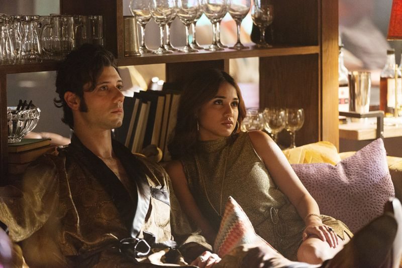 """THE MAGICIANS -- """"Homecoming"""" Episode 110 -- Pictured: (l-r) Hale Appleman as Eliot, Summer Bishil as Margo -- (Photo by: Jeff Weddell/Syfy)"""