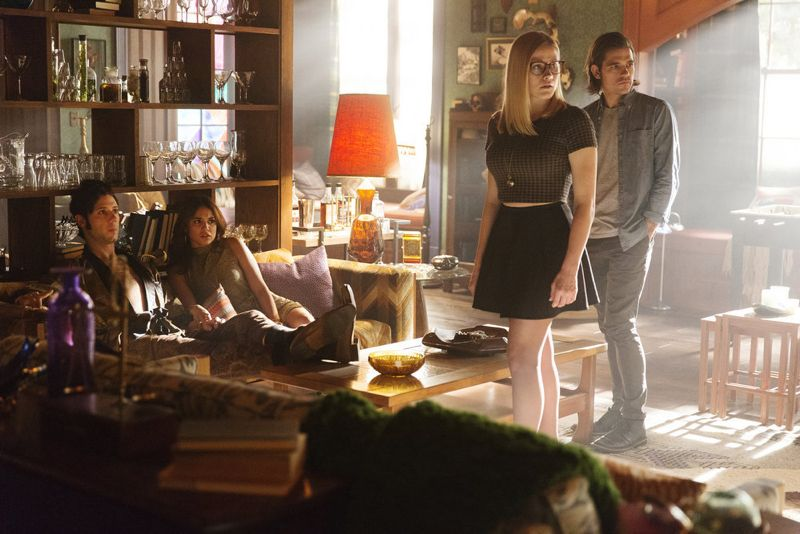 """THE MAGICIANS -- """"Homecoming"""" Episode 110 -- Pictured: (l-r) Hale Appleman as Eliot, Summer Bishil as Margo, Olivia Taylor Dudley as Alice, Jason Ralph as Quentin -- (Photo by: Jeff Weddell/Syfy)"""
