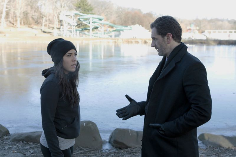 "BLINDSPOT -- ""Rules In Defiance"" Episode 114 -- Pictured: (l-r) Audrey Esparza as Zapata, Aaron Abrams as Weitz -- (Photo by: Giovanni Rufino/NBC)"