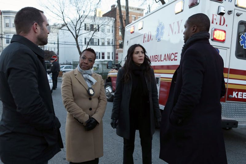 """BLINDSPOT -- """"Rules In Defiance"""" Episode 114 -- Pictured: (l-r) Sullivan Stapleton as Kurt Weller, Marianne Jean-Baptiste as Mayfair, Audrey Esparza as Zapata, Rob Brown as Reade -- (Photo by: Giovanni Rufino/NBC)"""