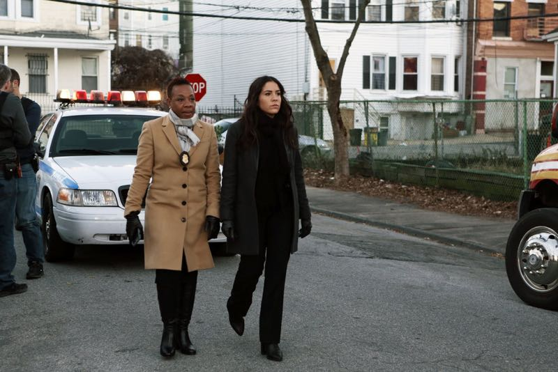 """BLINDSPOT -- """"Rules In Defiance"""" Episode 114 -- Pictured: (l-r) Marianne Jean-Baptiste as Mayfair, Audrey Esparza as Zapata -- (Photo by: Giovanni Rufino/NBC)"""