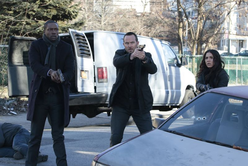 "BLINDSPOT -- ""Rules In Defiance"" Episode 114 -- Pictured: (l-r) Rob Brown as Reade, Sullivan Stapleton as Kurt Weller, Audrey Esparza as Zapata -- (Photo by: Giovanni Rufino/NBC)"