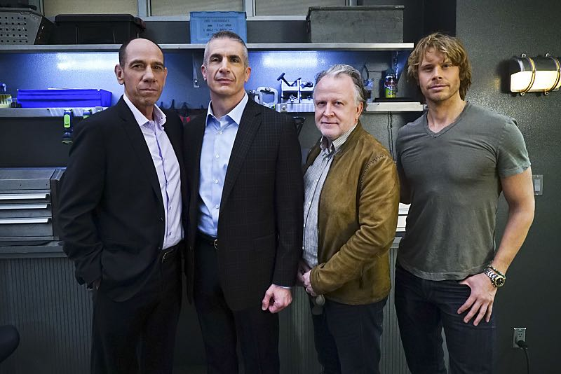 """""""Seoul Man"""" -- Pictured Behind the Scenes: Miguel Ferrer (NCIS Assistant Director Owen Granger), Andrew Traver (NCIS Special Agent Gates), Shane Brennan and Eric Christian Olsen (LAPD Liaison Marty Deeks). While assigned to protective details for the commander of the Pacific Command, the team searches for a North Korean spy, on NCIS: LOS ANGELES, Monday, March 28 (9:59-11:00, ET/PT), on the CBS Television Network. Photo: Sonja Flemming/CBS ©2016 CBS Broadcasting, Inc. All Rights Reserved"""