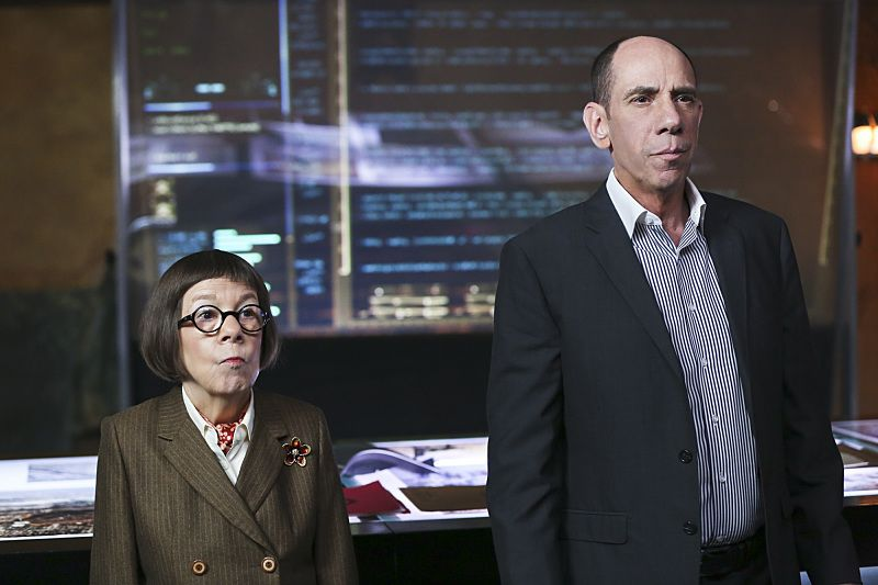"""""""The Seventh Child"""" -- Pictured: Linda Hunt (Henrietta """"Hetty"""" Lange) and Miguel Ferrer (NCIS Assistant Director Owen Granger). Callen and the team try to save a child in imminent danger who has been brainwashed by a terrorist cell. Also, Deeks and Kensi discuss having children, on NCIS: LOS ANGELES, Monday, March 21 (9:59-11:00 PM, ET/PT), on the CBS Television Network. Photo: Cliff Lipson/CBS ©2016 CBS Broadcasting, Inc. All Rights Reserved."""