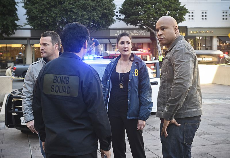 """""""The Seventh Child"""" -- Pictured: Chris O'Donnell (Special Agent G. Callen),  Alicia Coppola (FBI Senior Special Agent Lisa Rand) and LL COOL J (Special Agent Sam Hanna). Callen and the team try to save a child in imminent danger who has been brainwashed by a terrorist cell. Also, Deeks and Kensi discuss having children, on NCIS: LOS ANGELES, Monday, March 21 (9:59-11:00 PM, ET/PT), on the CBS Television Network. Photo: Ron P. Jaffe/CBS ©2016 CBS Broadcasting, Inc. All Rights Reserved."""