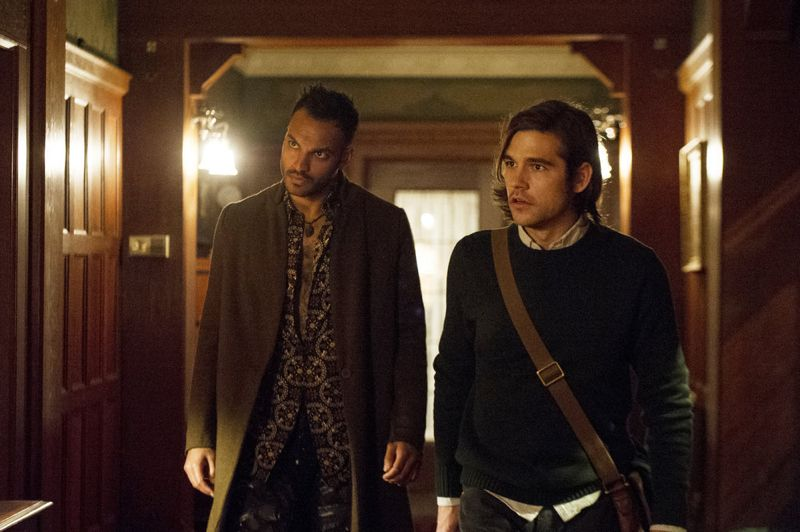 "THE MAGICIANS -- ""The Writing Room"" Episode 109 -- Pictured: (l-r) Arjun Gupta as Penny, Jason Ralph as Quentin -- (Photo by: Carole Segal/Syfy)"