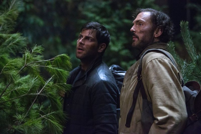 "GRIMM -- ""Into The Schwarzwald"" Episode 512 -- Pictured: (l-r) David Giuntoli as Nick Burkhardt, Silas Weir Mitchell as Monroe -- (Photo by: Scott Green/NBC)"
