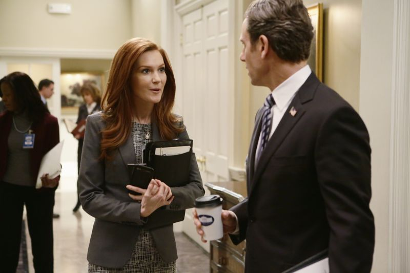 "SCANDAL - ""The Fish Rots From the Head"" - Olivia and the team take on some embattled Secret Service agents. Meanwhile, Abby has her hands full trying to keep Fitz in line, and Jake begins to reveal a few secrets of his own, on an all-new ""Scandal,"" THURSDAY MARCH 10 (9:00-10:00 p.m. EST) on the ABC Television Network. (ABC/Nicole Wilder) DARBY STANCHFIELD, TONY GOLDWYN"