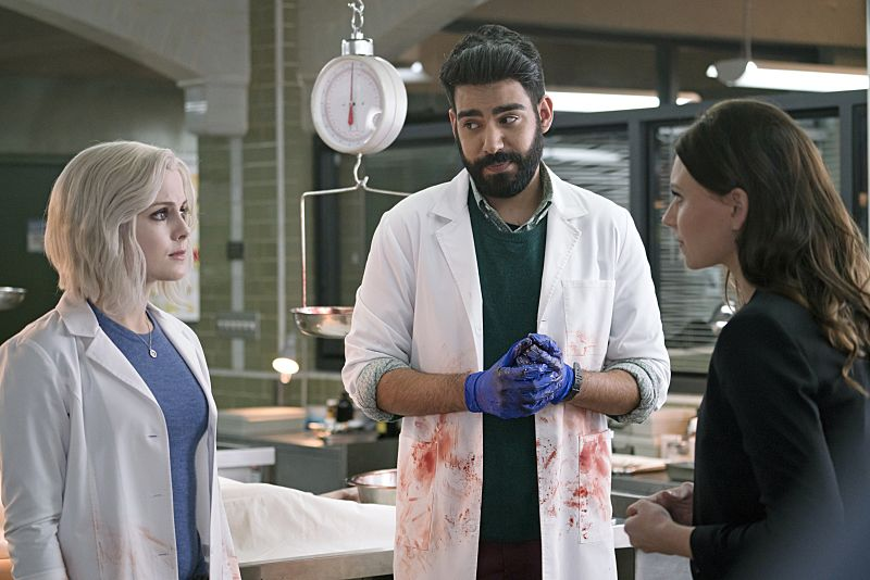 "iZombie -- Image Number: ZMB216a_0258.jpg -- ""Pour Some Sugar, Zombie"" -- Pictured (L-R): Rose McIver as Liv, Rahul Kohli as Ravi and Aly Michalka as Peyton -- Photo: Katie Yu/The CW -- © 2016 The CW Network, LLC. All rights reserved."