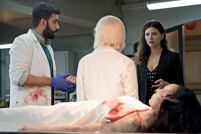 "iZombie -- Image Number: ZMB216a_0214.jpg -- ""Pour Some Sugar, Zombie"" -- Pictured (L-R): Rahul Kohli as Ravi, Rose McIver as Liv and Aly Michalka as Peyton -- Photo: Katie Yu/The CW -- © 2016 The CW Network, LLC. All rights reserved."