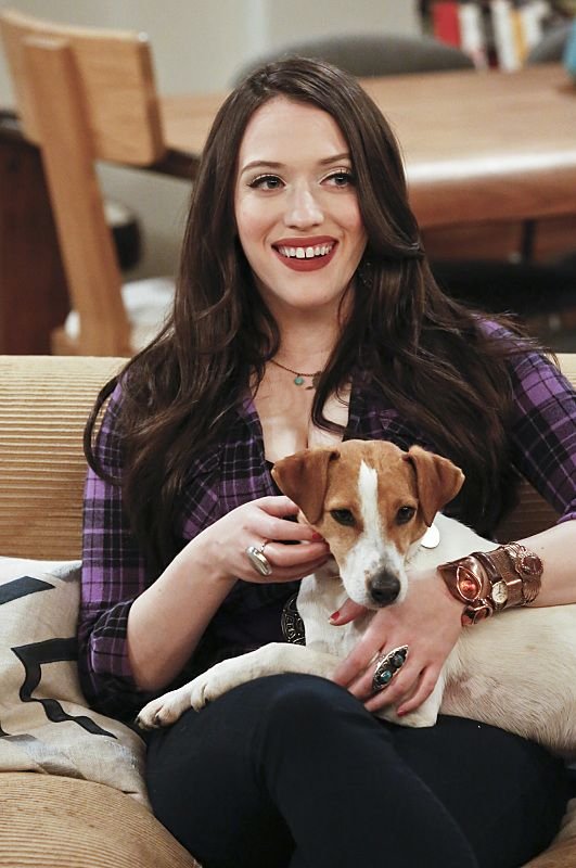 """And the Great Escape"" -- Pictured: Max Black (Kat Dennings). As Max pet sits Randy's dog, Bruno, at his Hollywood Hills home, and Caroline sets up meetings with actresses who are interested in playing her in the potential biopic, Bruno escapes while a cannibalistic serial killer is loose in their neighborhood, on 2 BROKE GIRLS, Thursday, March 10 (9:30-10:00 PM, ET/PT) on the CBS Television Network. Photo: Robert Voets/CBS ©2016 CBS Broadcasting, Inc. All Rights Reserved."
