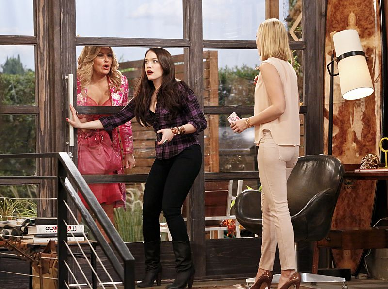 """And the Great Escape"" -- Pictured: Sophie (Jennifer Coolidge), Max Black (Kat Dennings) and Caroline Channing (Beth Behrs). As Max pet sits Randy's dog, Bruno, at his Hollywood Hills home, and Caroline sets up meetings with actresses who are interested in playing her in the potential biopic, Bruno escapes while a cannibalistic serial killer is loose in their neighborhood, on 2 BROKE GIRLS, Thursday, March 10 (9:30-10:00 PM, ET/PT) on the CBS Television Network. Photo: Robert Voets/CBS ©2016 CBS Broadcasting, Inc. All Rights Reserved."
