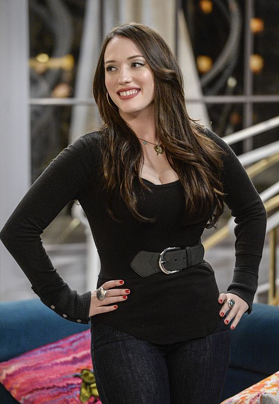 """And You Bet Your Ass"" -- Pictured: Max Black (Kat Dennings). Caroline continues meeting with studio writers in an effort to make her life story into a movie, but she is torn when they reveal they would not portray Max in the project. Also, Max is being spoiled by her new Hollywood beau, Randy (Ed Quinn), who sets Caroline up on a date with his friend, Bob, on 2 BROKE GIRLS, Thursday, March 3 (9:30-10:00 PM, ET/PT) on the CBS Television Network. George Hamilton guest stars as Bob, a former studio mogul. Photo: Darren Michaels/Warner Bros. Entertainment Inc. © 2016 WBEI. All rights reserved."