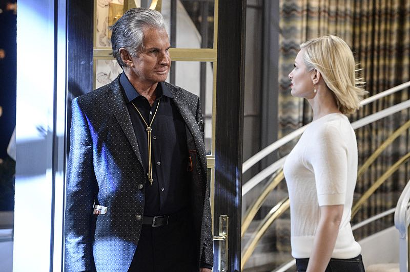 """And You Bet Your Ass"" -- Pictured: Bob (George Hamilton) and Caroline Channing (Beth Behrs). Caroline continues meeting with studio writers in an effort to make her life story into a movie, but she is torn when they reveal they would not portray Max in the project. Also, Max is being spoiled by her new Hollywood beau, Randy (Ed Quinn), who sets Caroline up on a date with his friend, Bob, on 2 BROKE GIRLS, Thursday, March 3 (9:30-10:00 PM, ET/PT) on the CBS Television Network. George Hamilton guest stars as Bob, a former studio mogul. Photo: Darren Michaels/Warner Bros. Entertainment Inc. © 2016 WBEI. All rights reserved."
