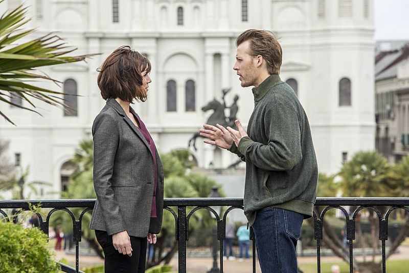 """""""If it Bleeds, it Leads"""" -- NCIS Special Agent Brody believes that a sailor hit by a party bus in the French Quarter is connected to her sister's death after the NCIS team discovers similarities between the two. Also, the team prepares for St. Patrick's Day festivities in New Orleans, on NCIS: NEW ORLEANS, Tuesday, March 15 (9:00-10:00 PM, ET/PT), on the CBS Television Network. Pictured L-R: Zoe McLellan as Special Agent Meredith """"Merri"""" Brody and David Hoflin as Daniel Nolan Photo: Skip Bolen/CBS ©2016 CBS Broadcasting, Inc. All Rights Reserved"""