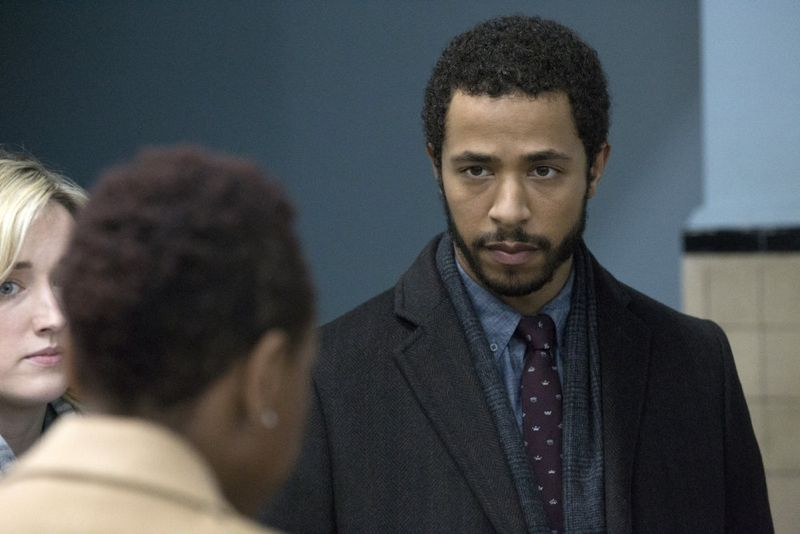 "BLINDSPOT -- ""Scientists Hollow Fortune"" Episode 112 -- Pictured: (l-r) Ashley Johnson as Patterson, Ukweli Roach as Borden -- (Photo by: {Paul Sarkis/NBC)"